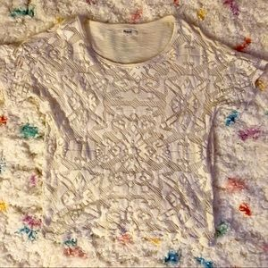 Madewell white blouse with lace detailed front